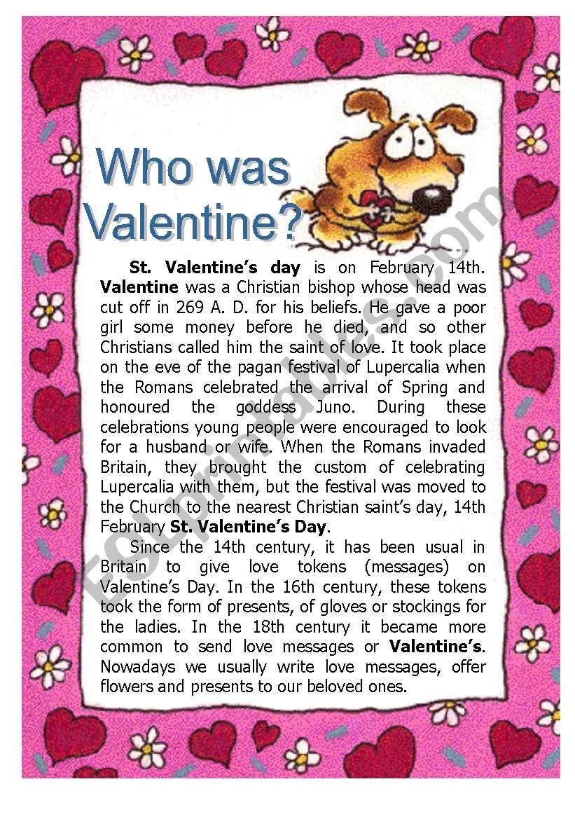 Who was Valentine worksheet