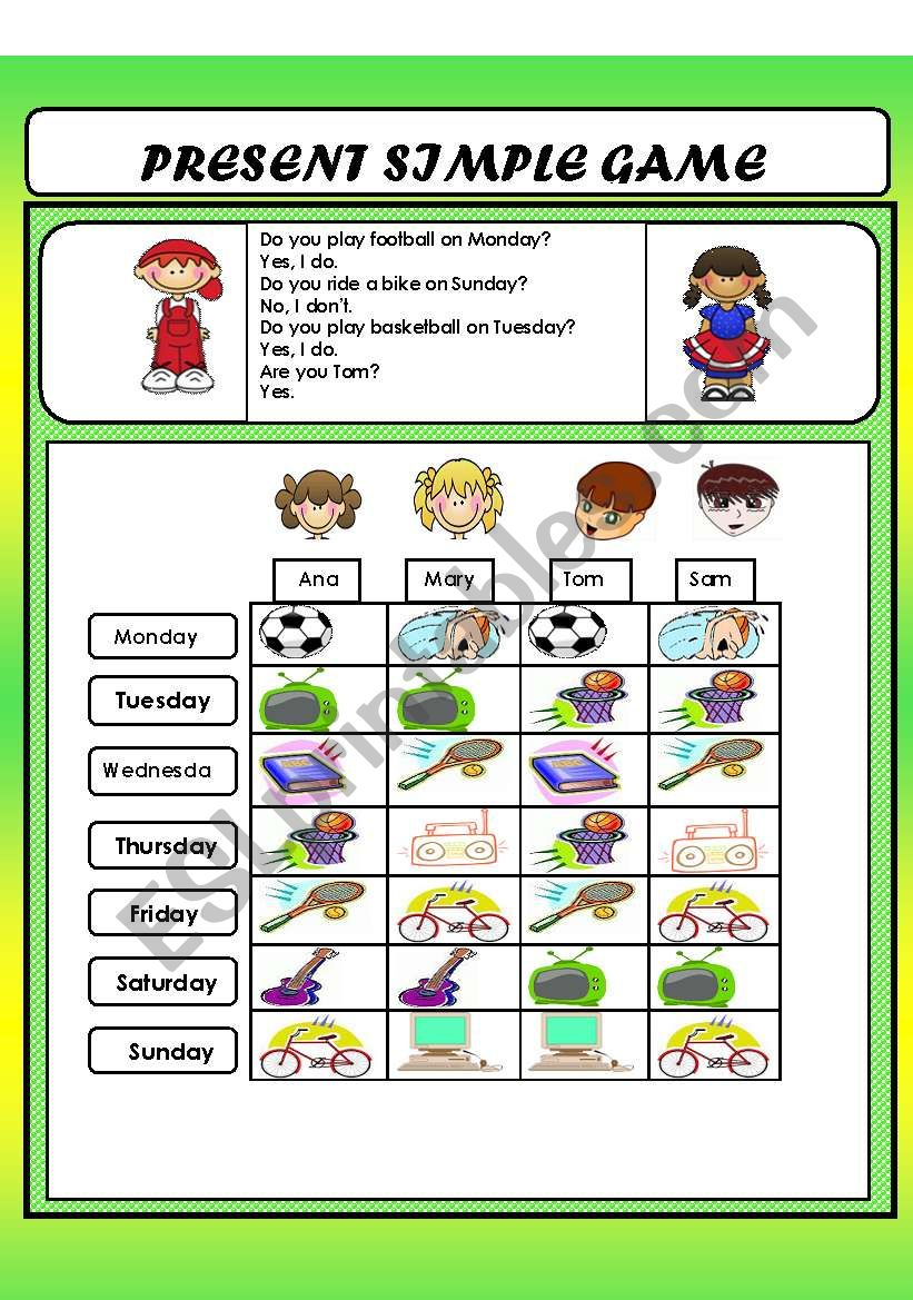 Present simple game worksheet