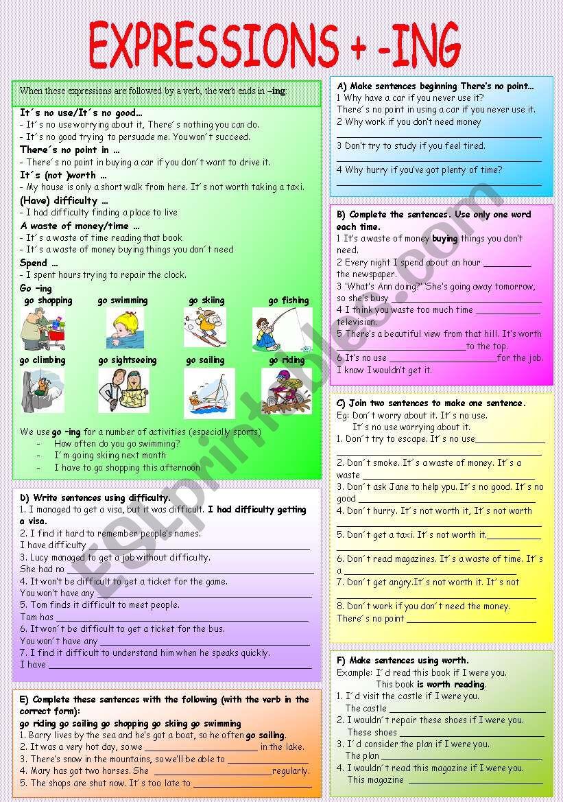 EXPRESSIONS + ING worksheet