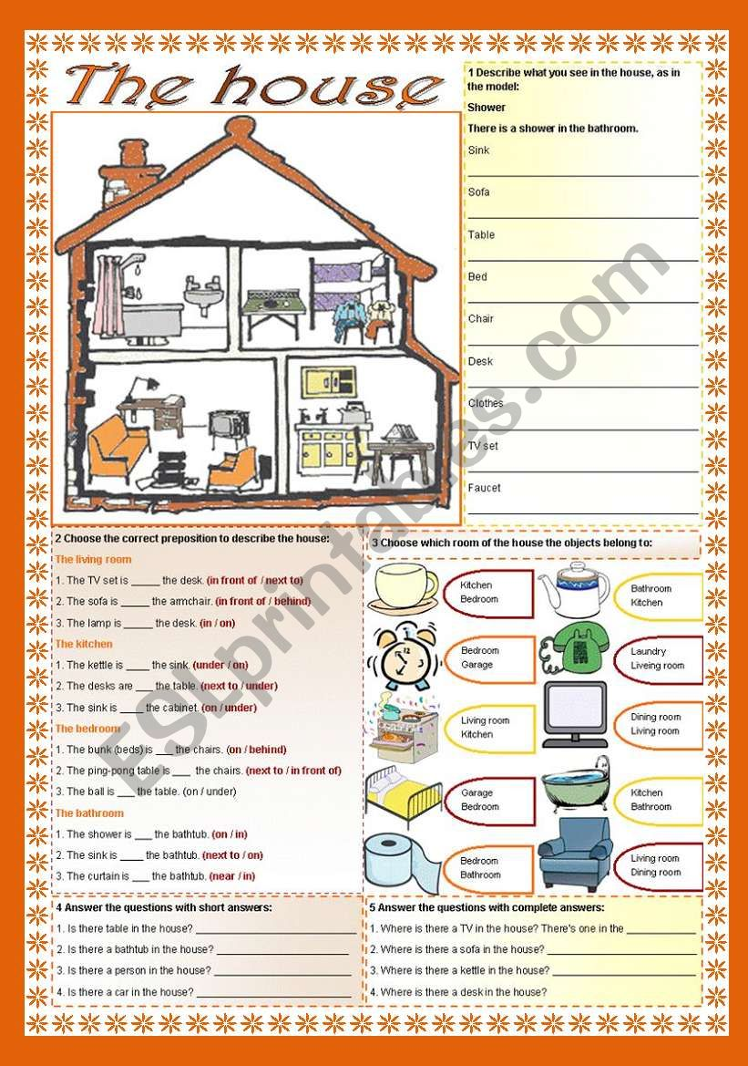 the house there is there are prepositions esl worksheet by zailda. Black Bedroom Furniture Sets. Home Design Ideas