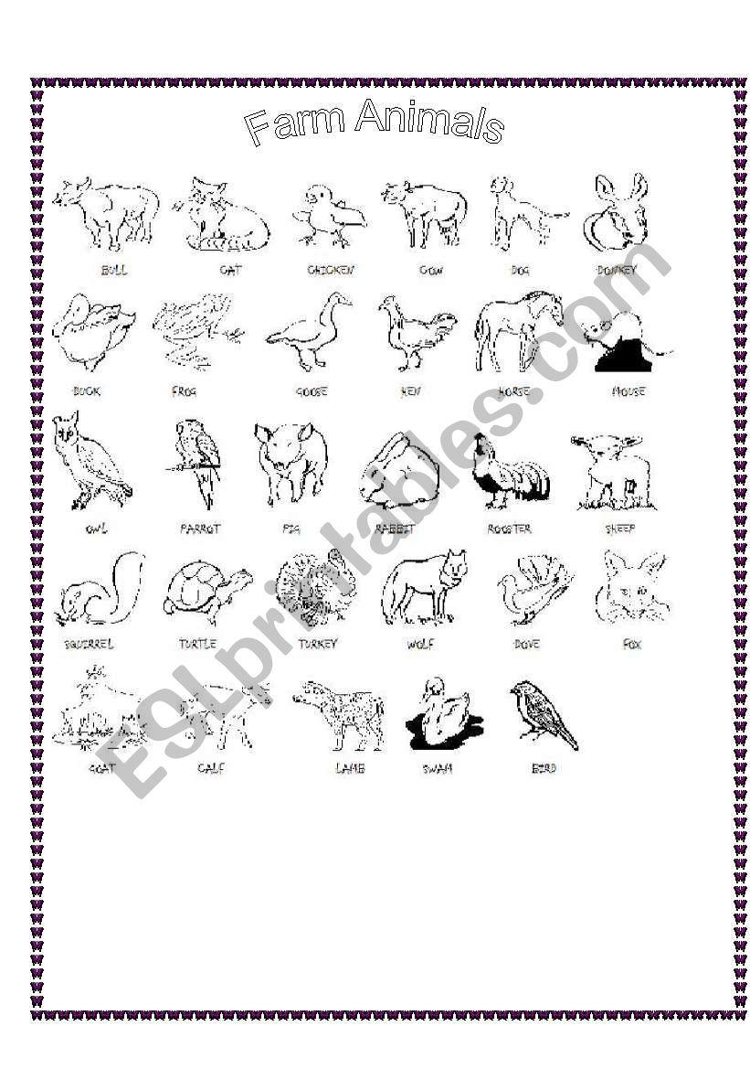 Farm animals worksheet