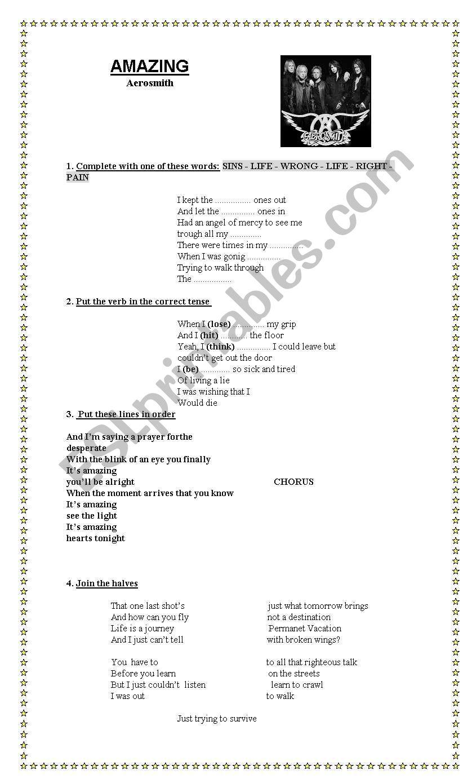 Song: Amazing (aerosmith) worksheet