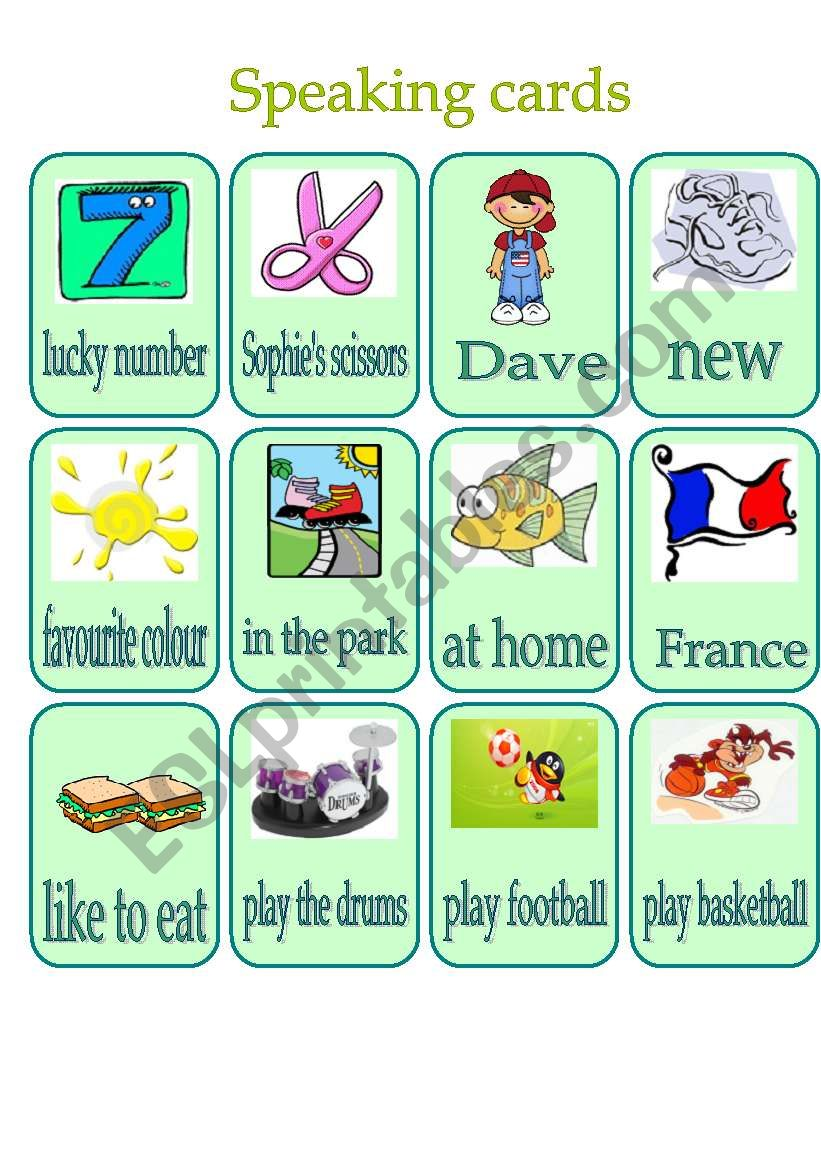 Speaking cards for practicing The Present Simple Tense