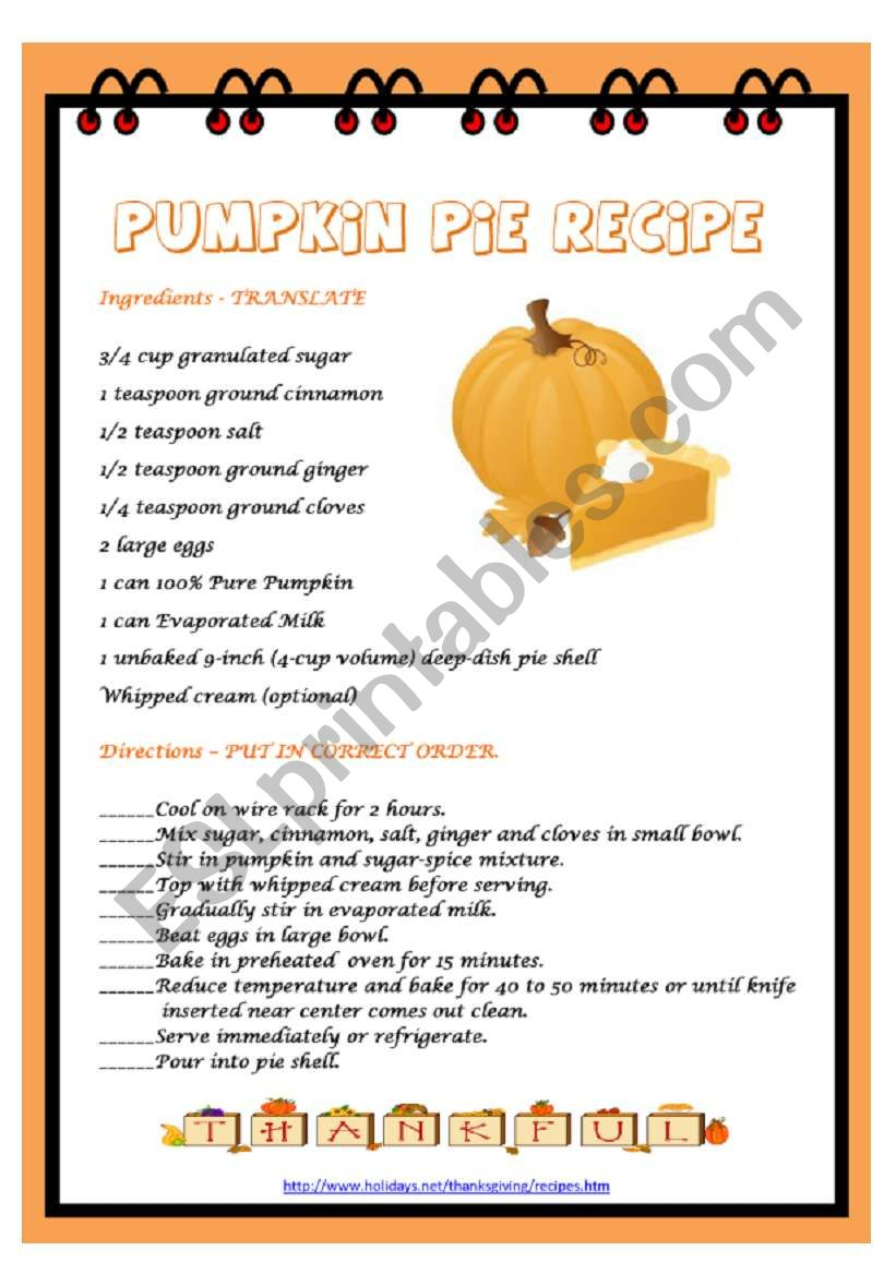 PUMPKIN PIE RECIPE worksheet