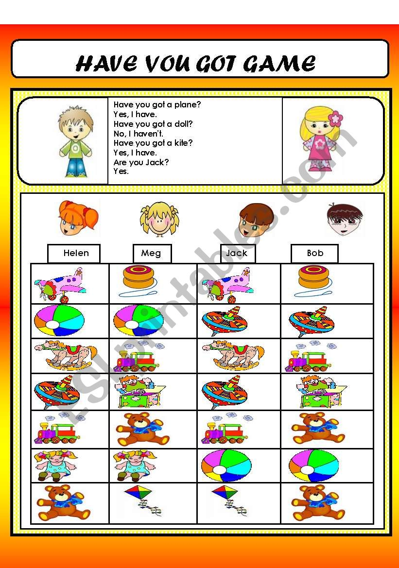 HAVE YOU GOT GAME(TOYS VOCABULARY)
