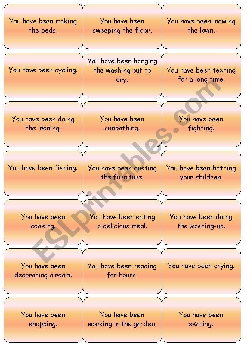 Present Perfect Continuous Miming Cards