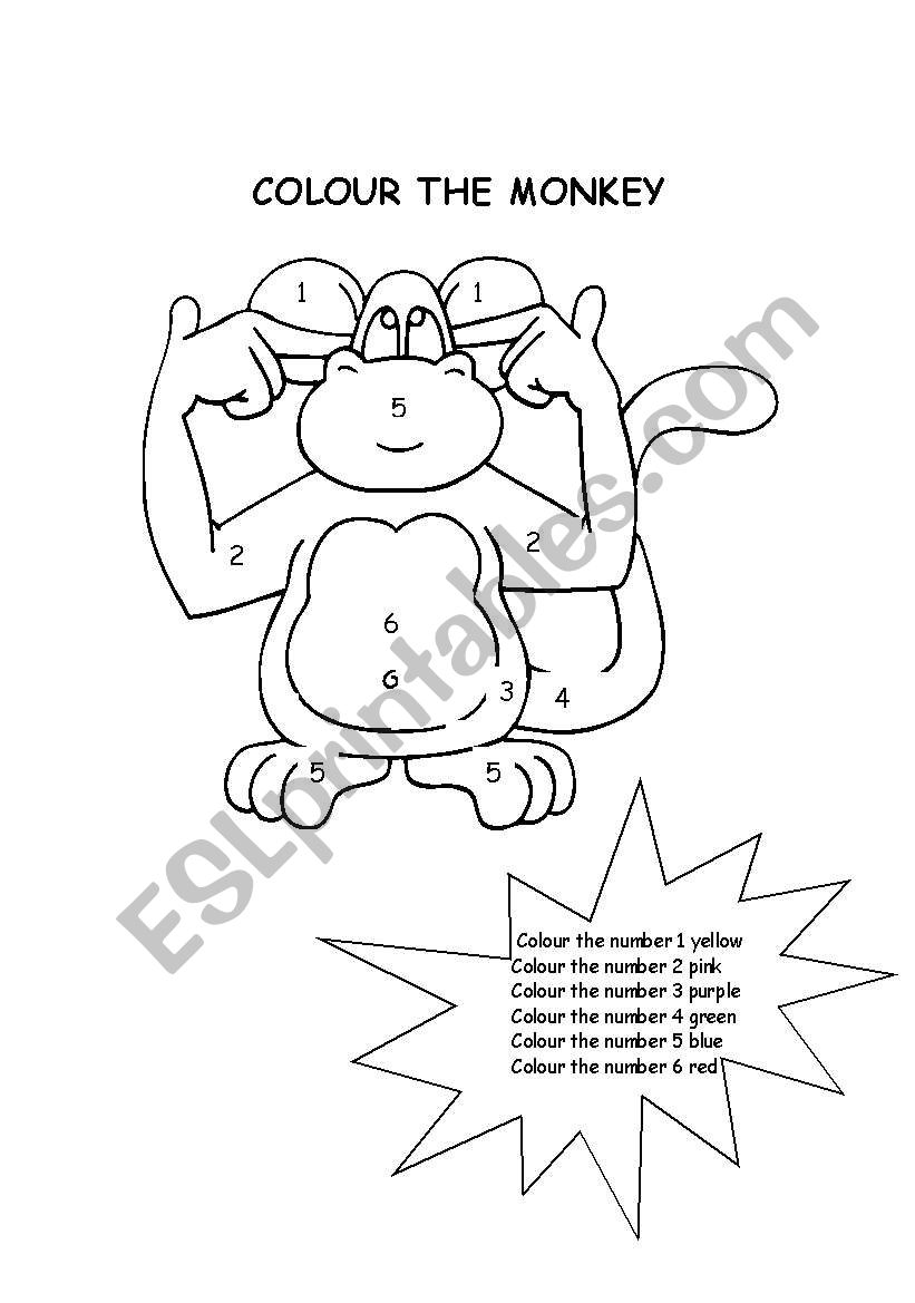 colour the monkey worksheet