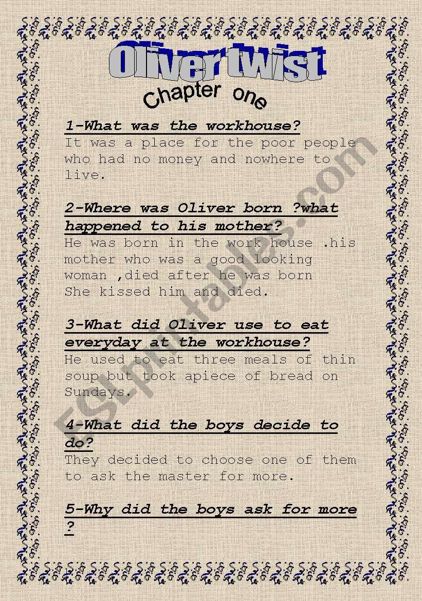 Oliver  Twist (ch 1,2 ) worksheet