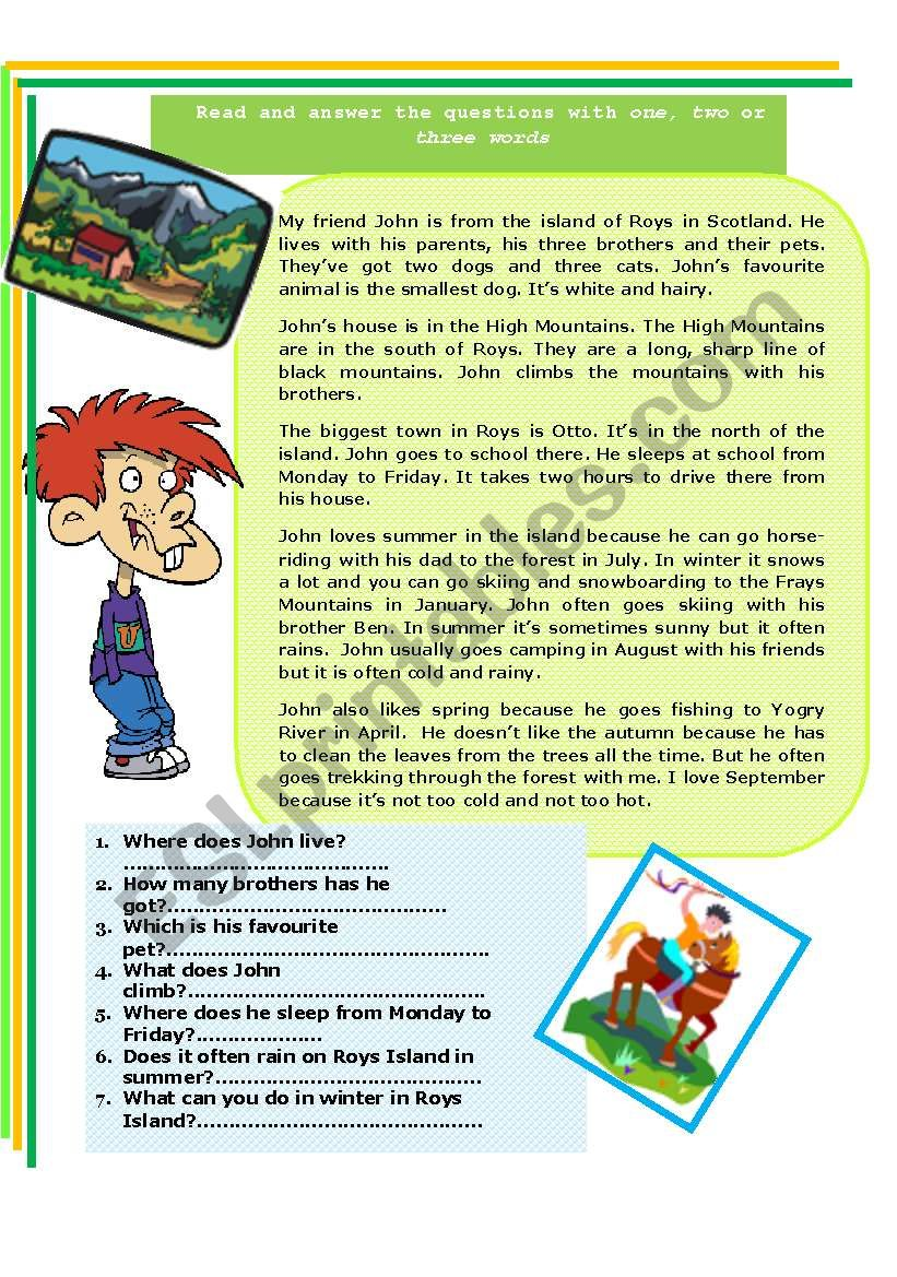 Present simple - reading comprehension. Seasons, and free time activities