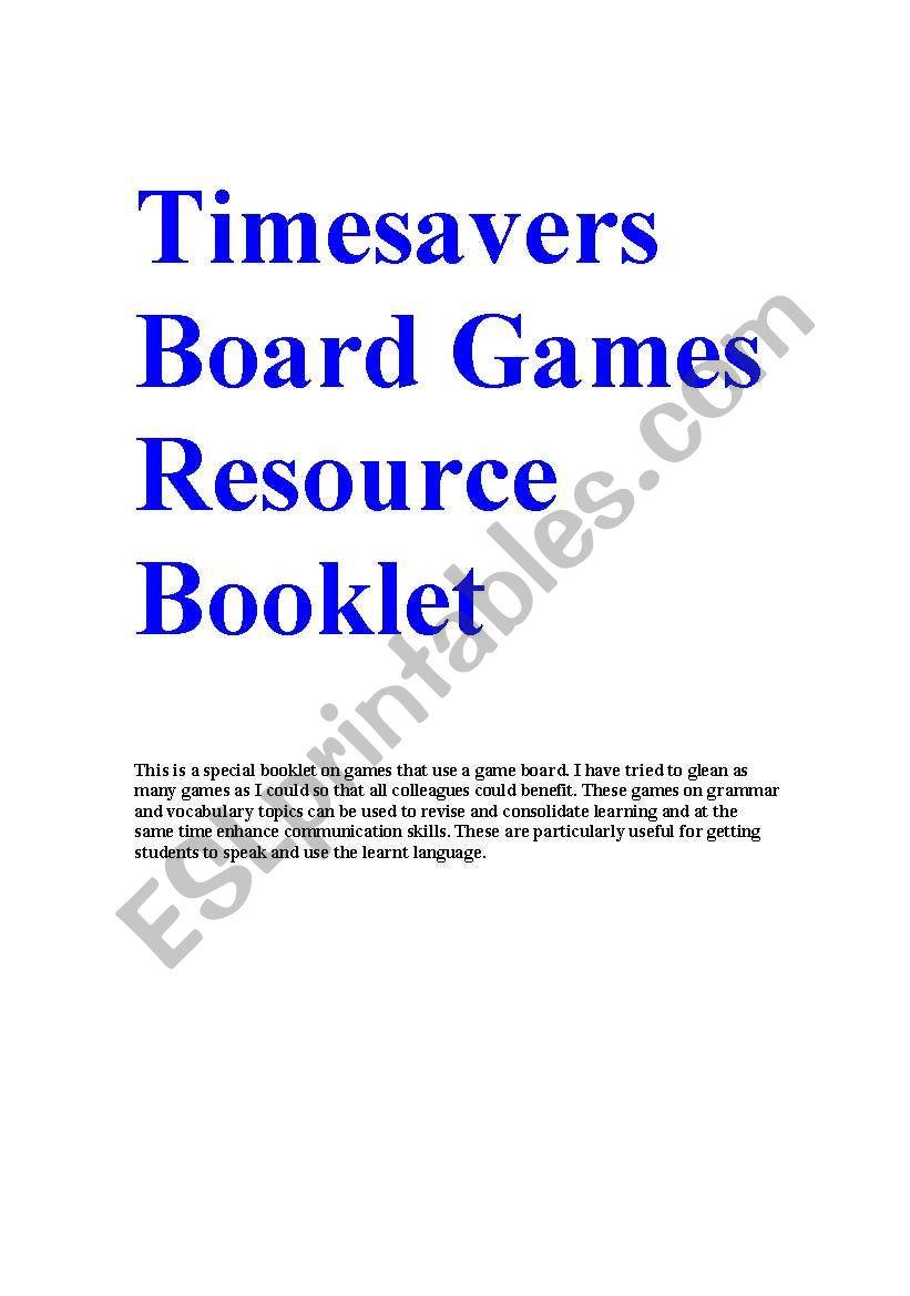 Timesavers board games resource booklet esl worksheet by aftab57 timesavers board games resource booklet ibookread Download