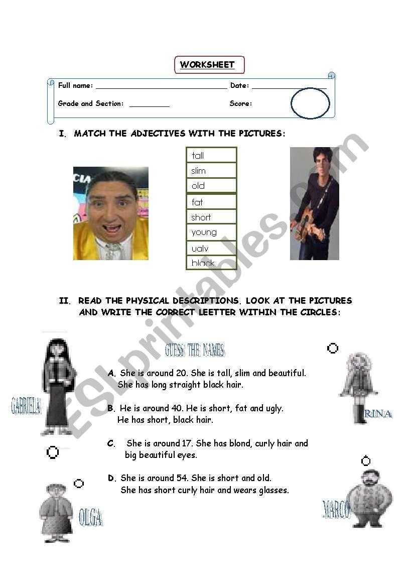 adjectives worksheet