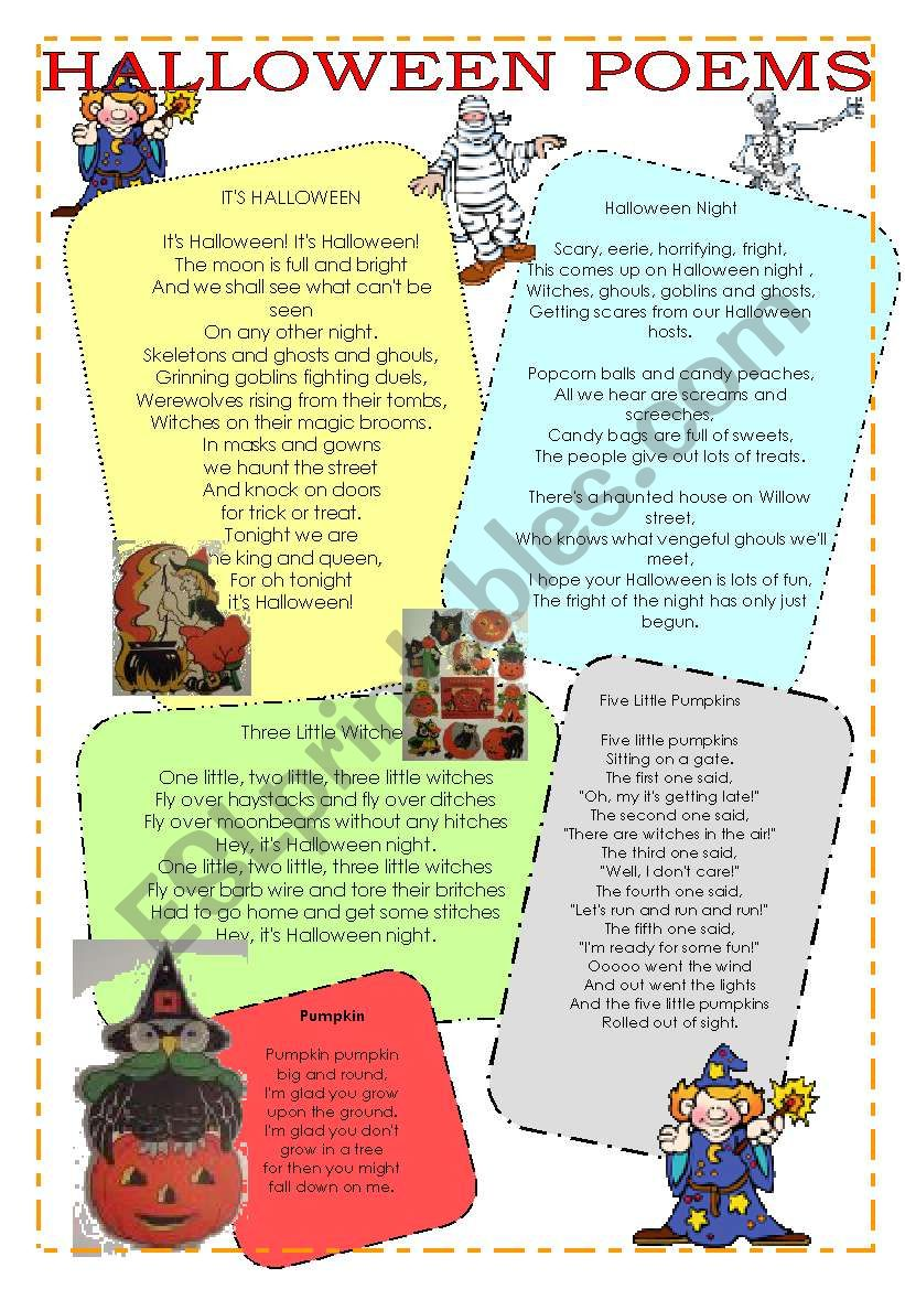 Halloween poems, riddles and tongue twisters