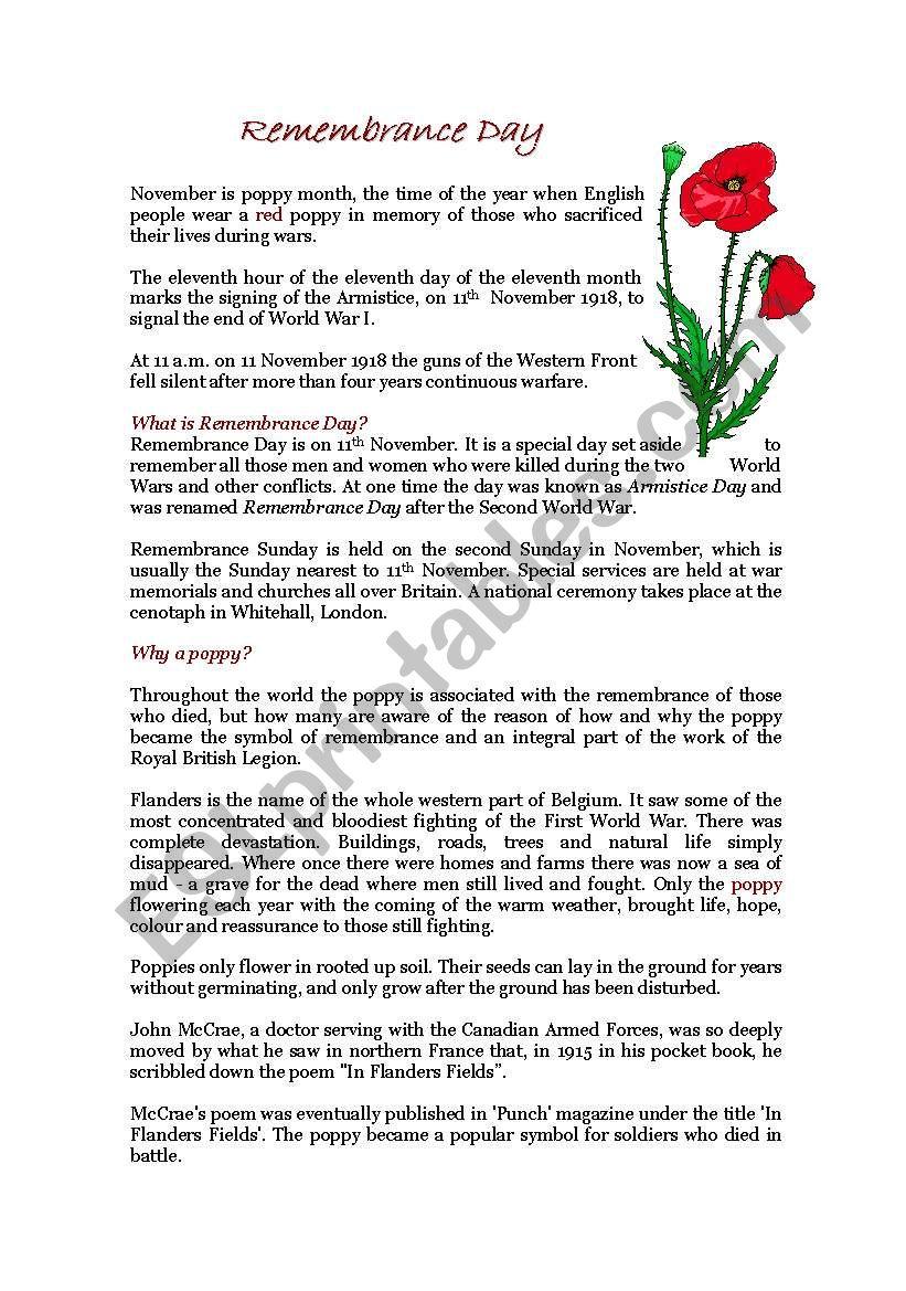 Remembrance Day Esl Worksheet By Crijus13