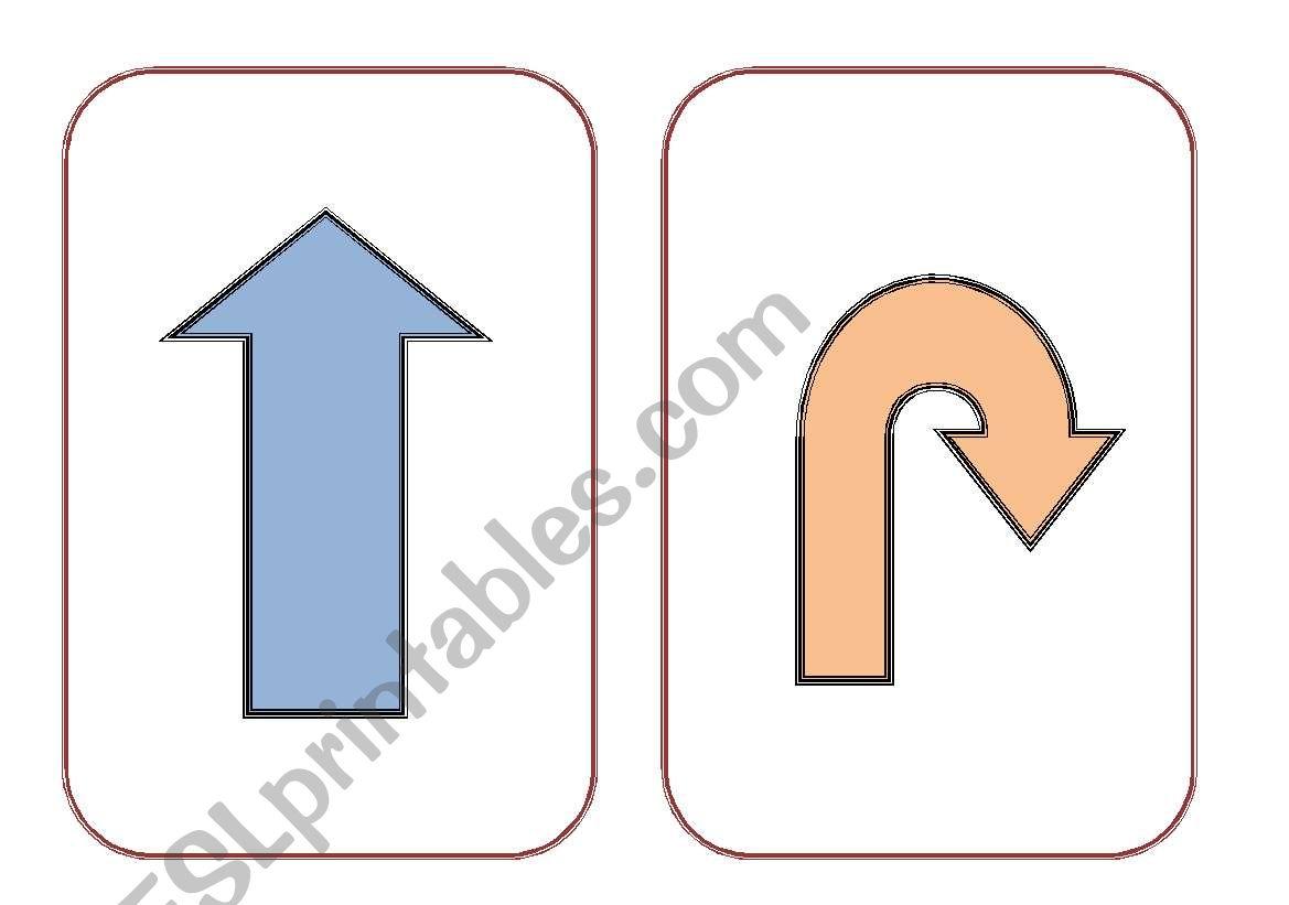 Directions flashcards worksheet