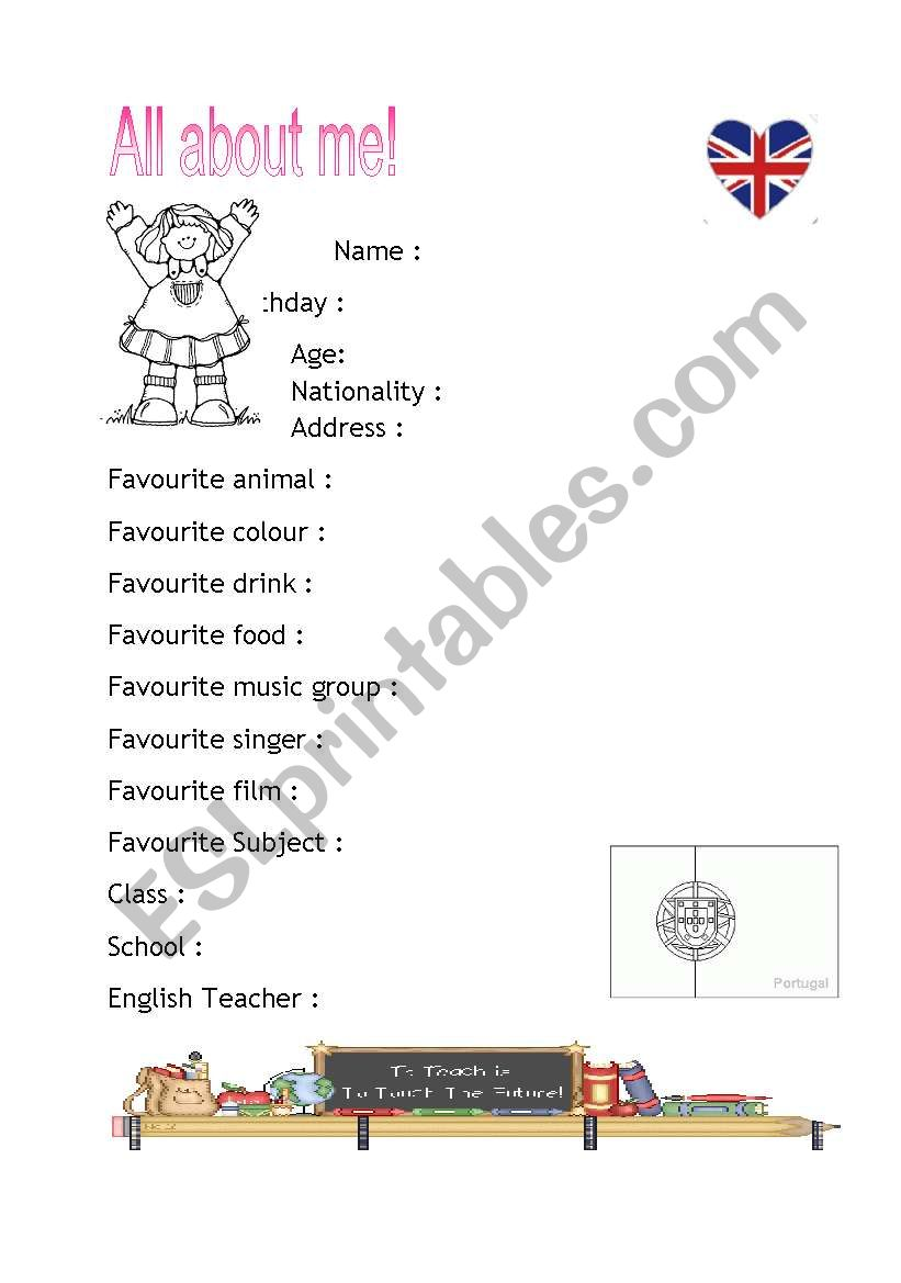 All about me girl Identity worksheet
