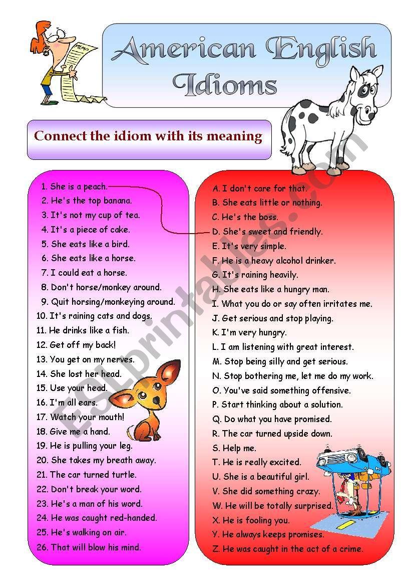 American English Idioms 1 (+ BW + Key)