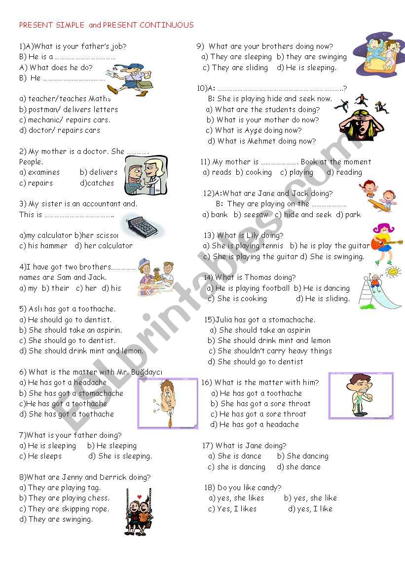 present continuous and present simple tense