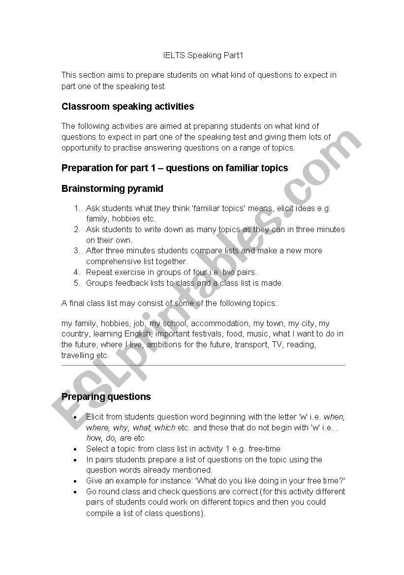 IELTS Preparation for Speaking Part 1 - ESL worksheet by Nli1161