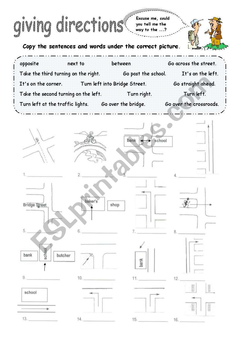 giving directions esl worksheet by foreign. Black Bedroom Furniture Sets. Home Design Ideas