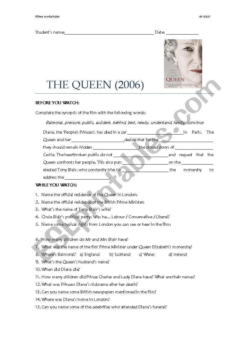 The Queen (film worksheet) worksheet