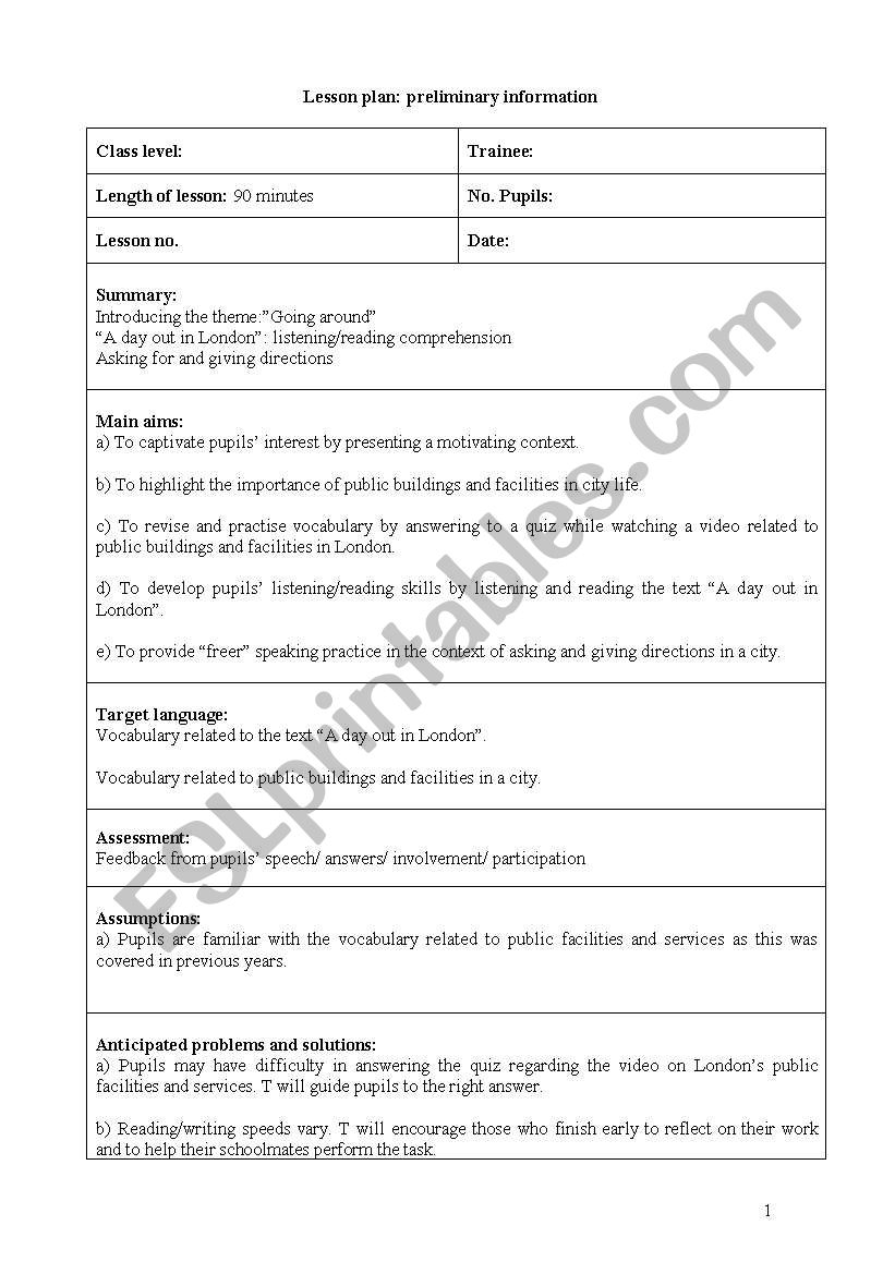 Teaching the directions (detailed lesson plan of 8 sheets) - ESL