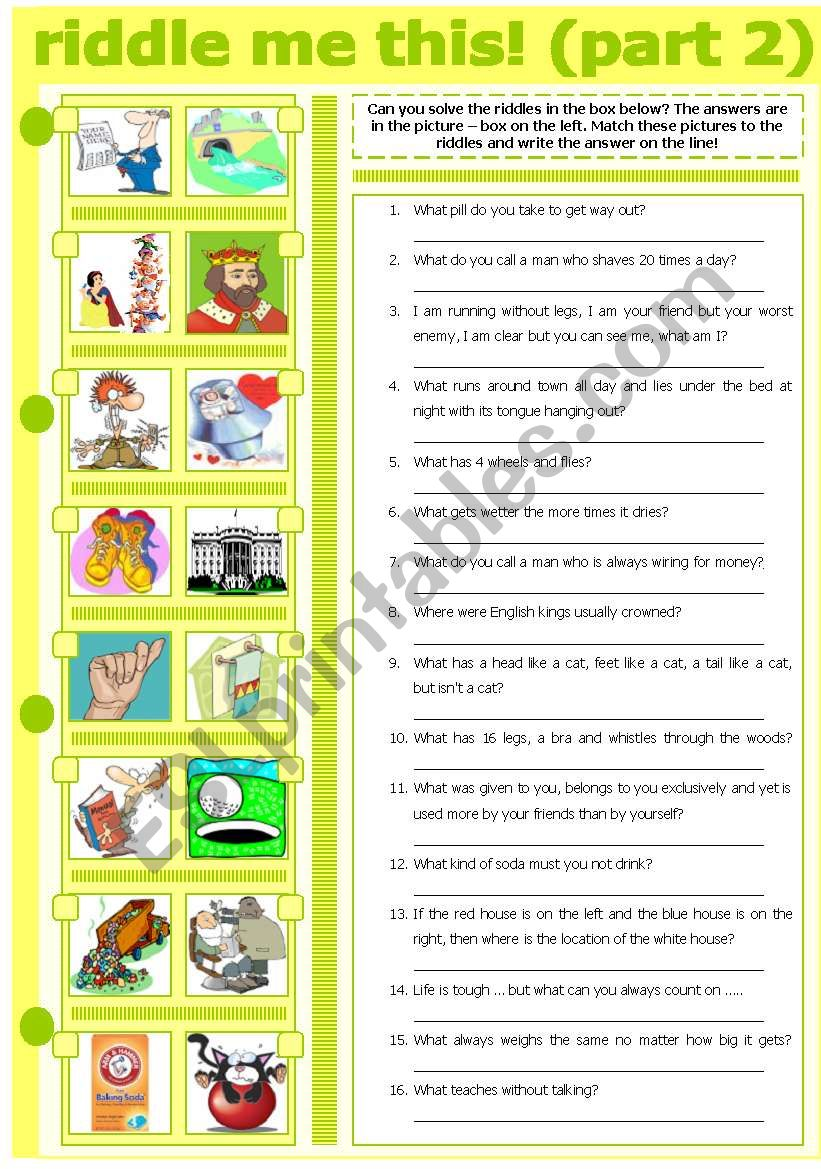RIDDLE ME THIS! (PART 2) worksheet