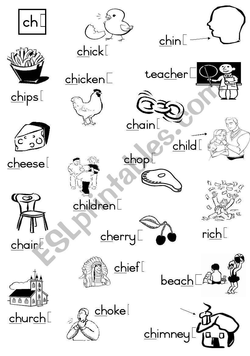-ch-  Consonant diagraph worksheet