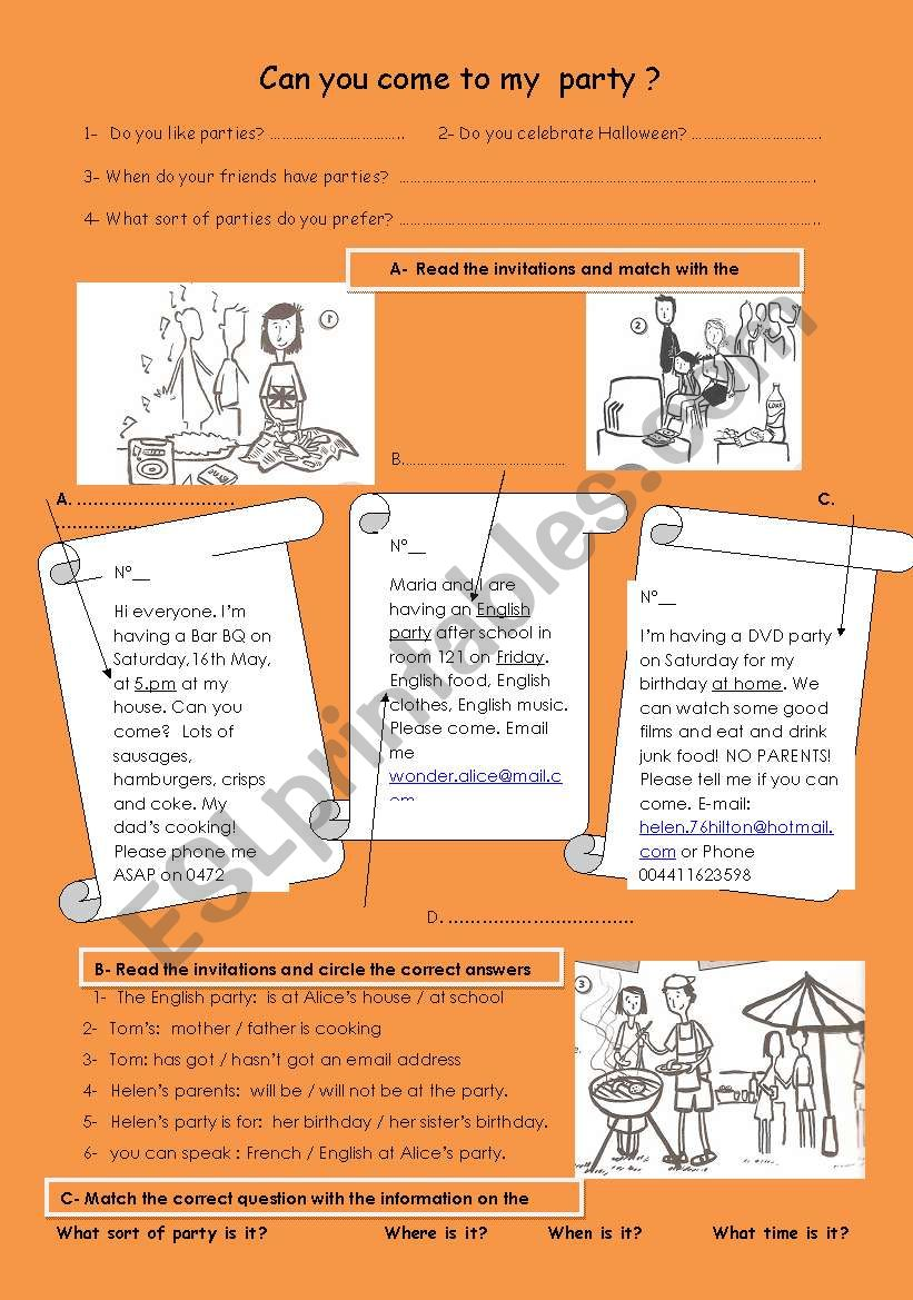 Halloween Party Invitation worksheet