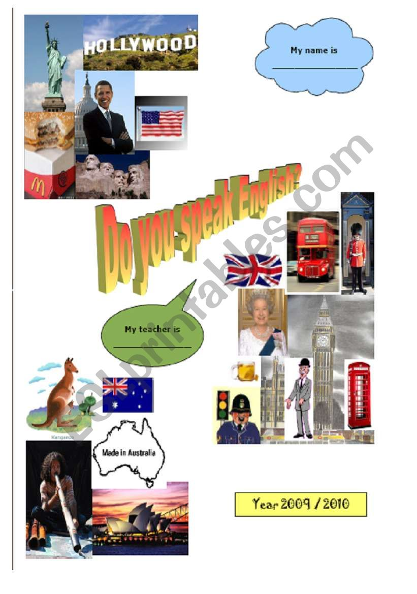 Page cover for English language notebook