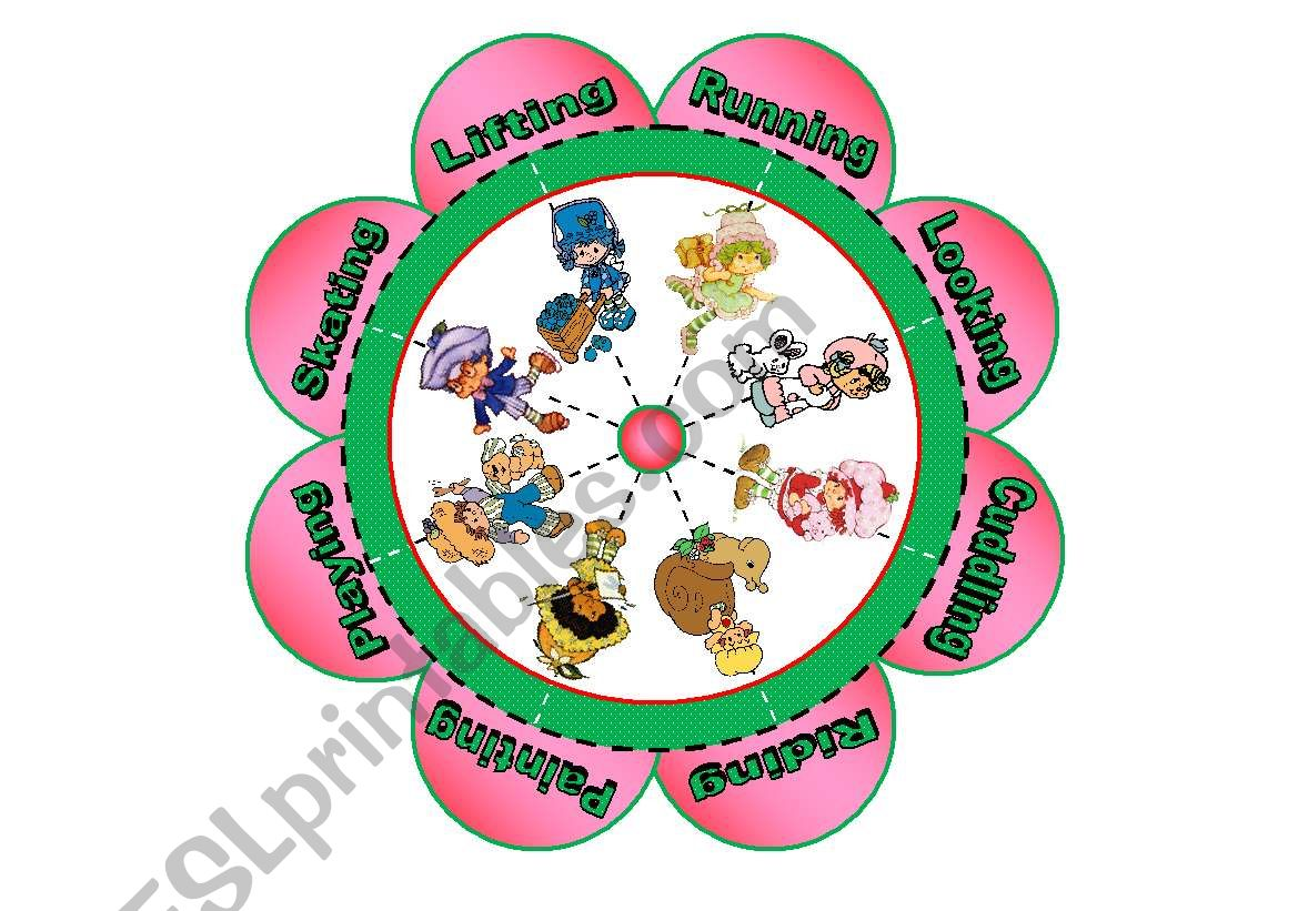 Verb Flower Puzzle with Strawberry Shortcake Characters (16 piece puzzle with 8 verbs)