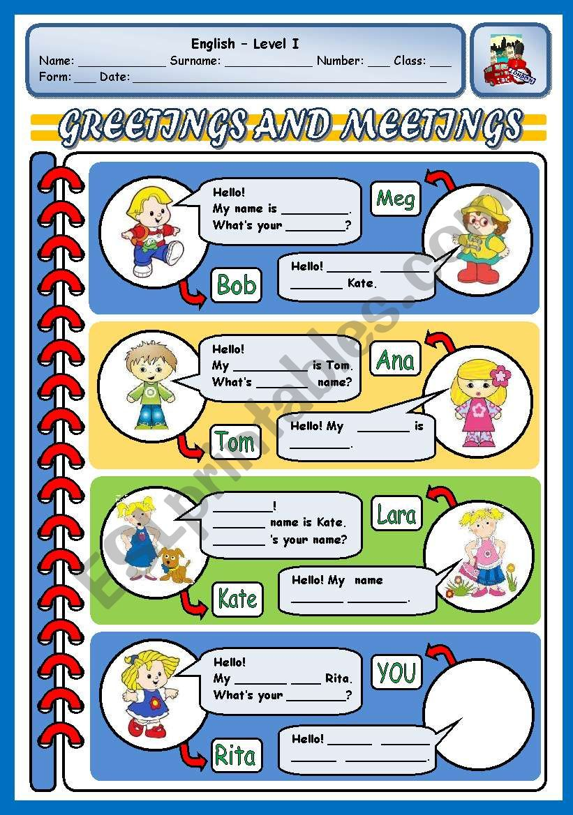 GREETINGS AND MEETINGS 2 worksheet