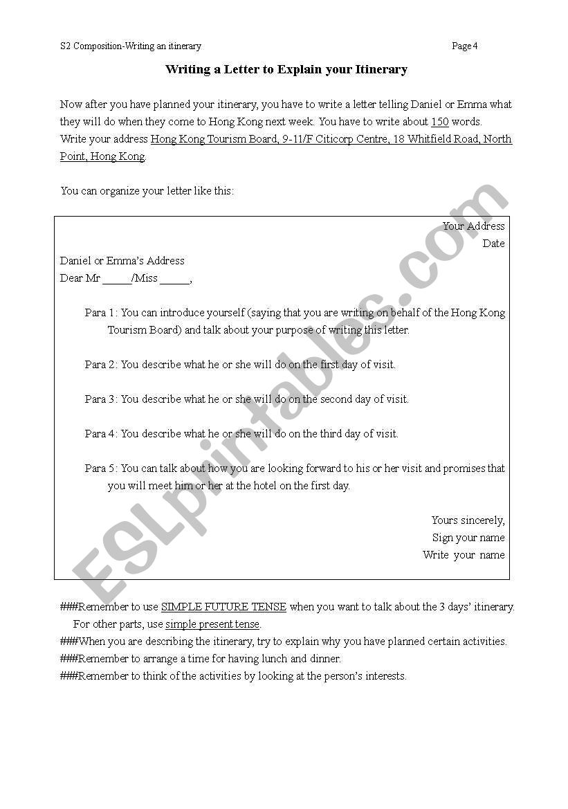 Writing an itinerary and a formal letter esl worksheet by aikokaren thecheapjerseys Choice Image