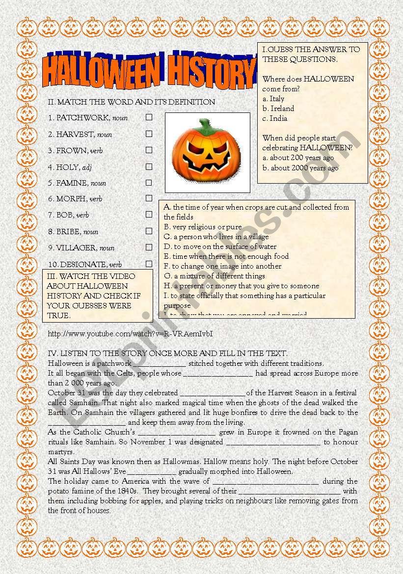 Halloween History worksheet