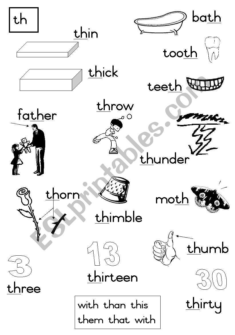 -th Consonant diagraph worksheet