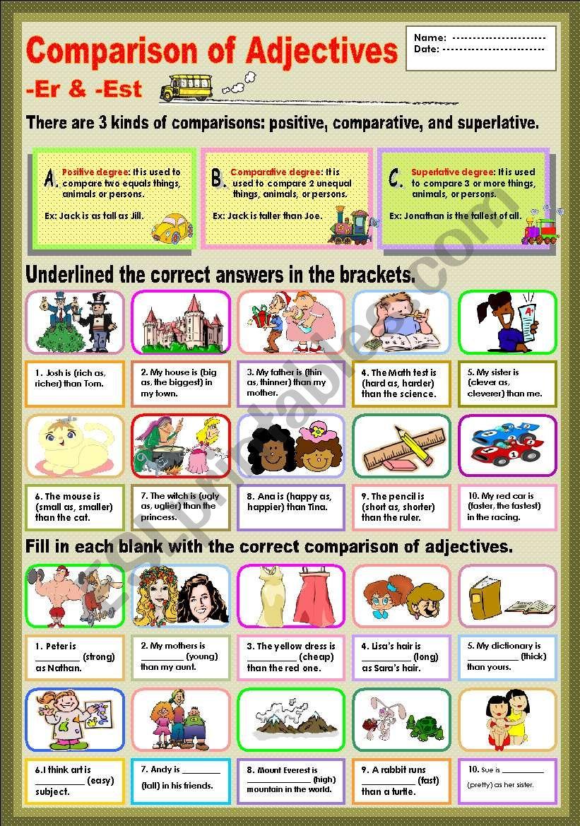 Comparison of Adjectives -Er & -Est
