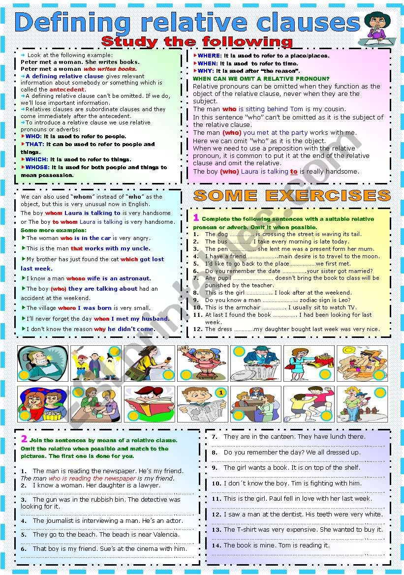 DEFINING RELATIVE CLAUSES - GRAMMAR AND EXERCISES (B&W VERSION INCLUDED)