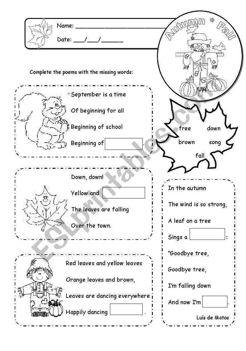 Poems worksheet