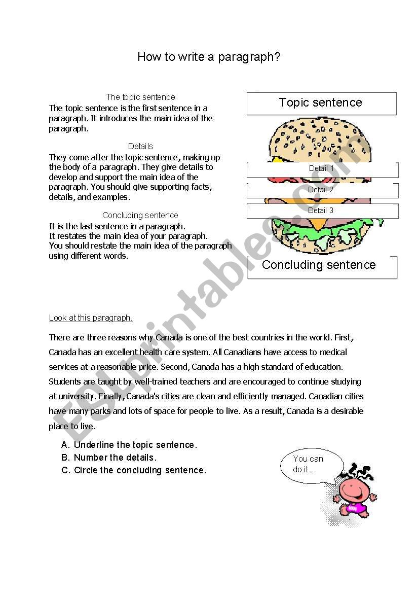 how to write a paragraph - ESL worksheet by miss eng