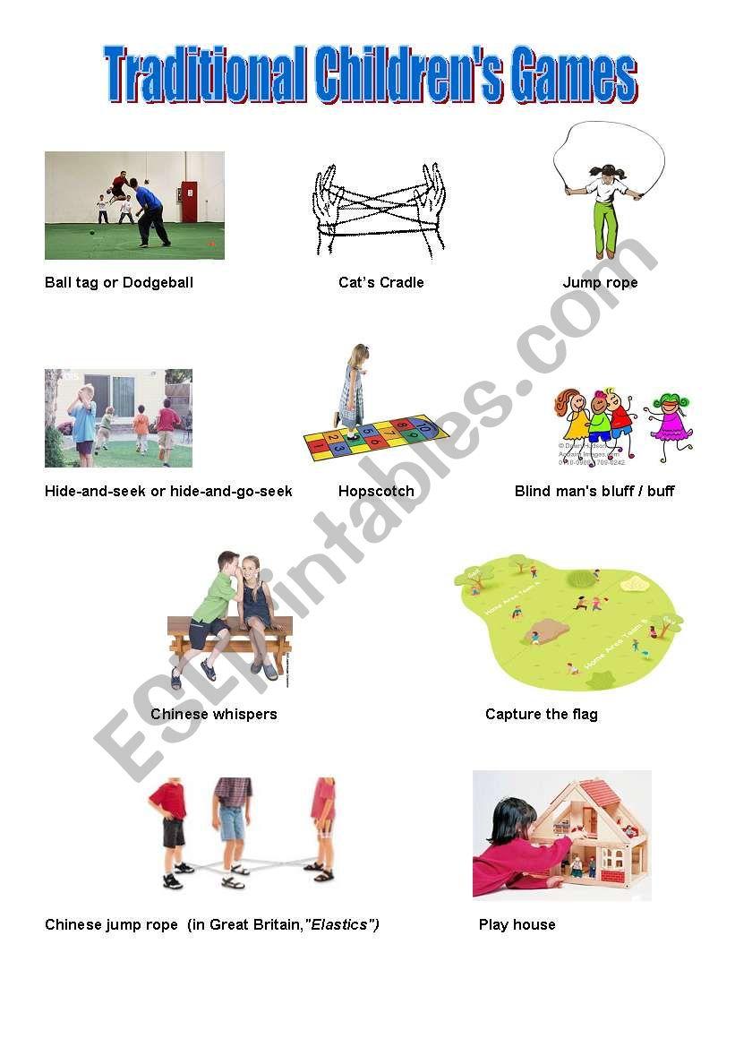 Traditional Children´s Games - ESL worksheet by alinetrabalho