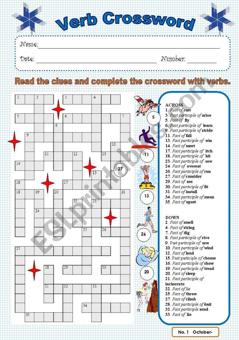 Verb crossword 1 worksheet