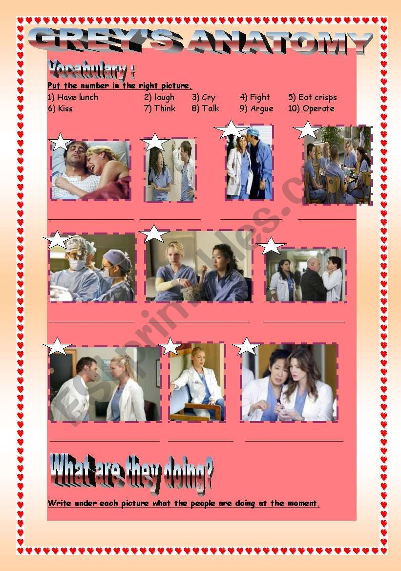 What are they doing? Grey´s anatomy. - ESL worksheet by Emsa