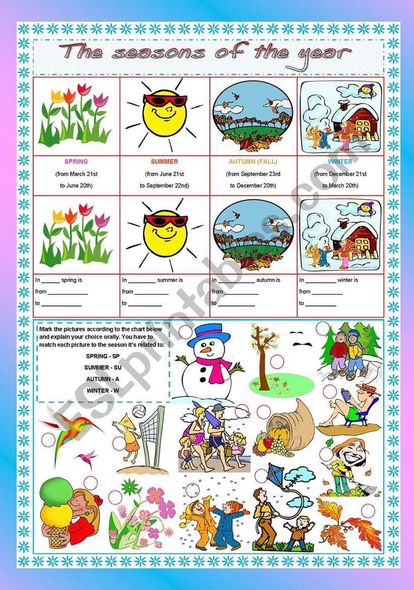 The seasons of the year worksheet