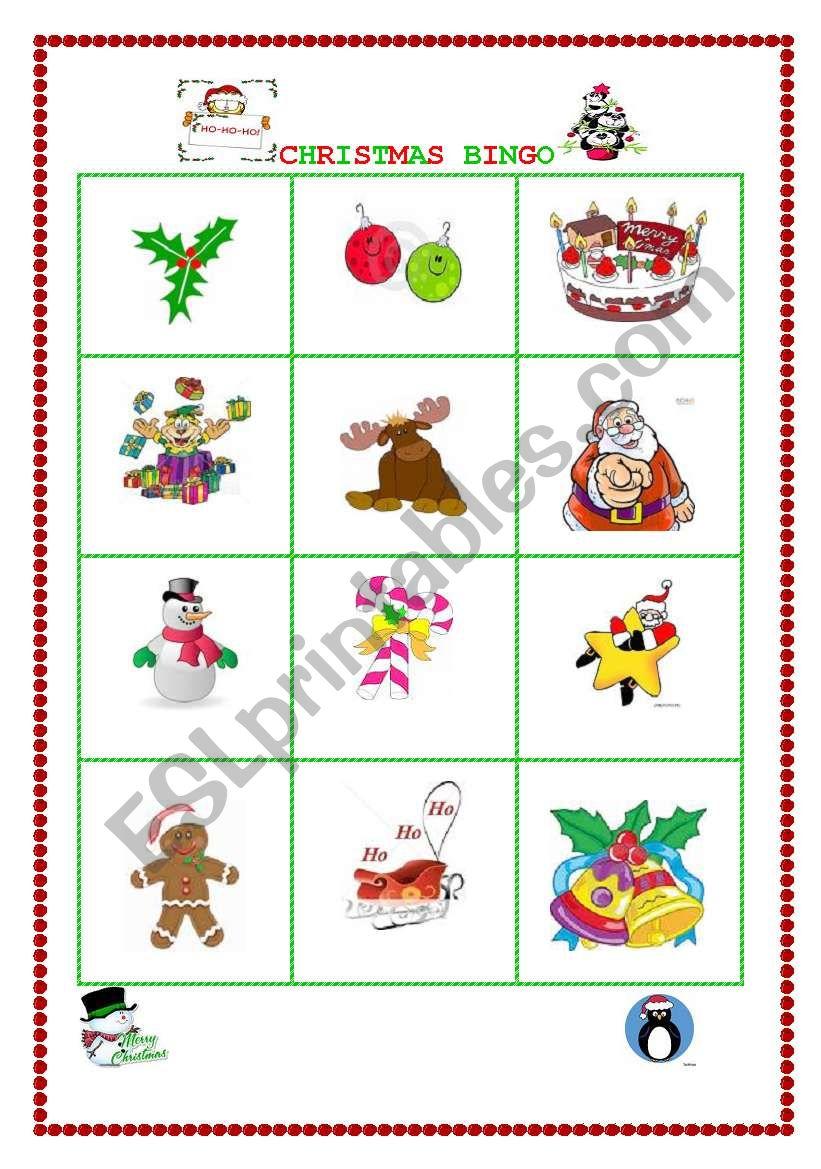 CHRISTMAS BINGO II worksheet
