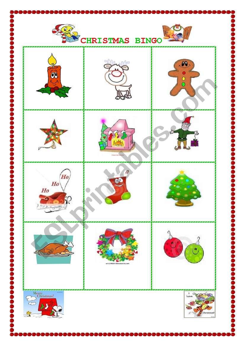 CHRISTMAS BINGO III worksheet