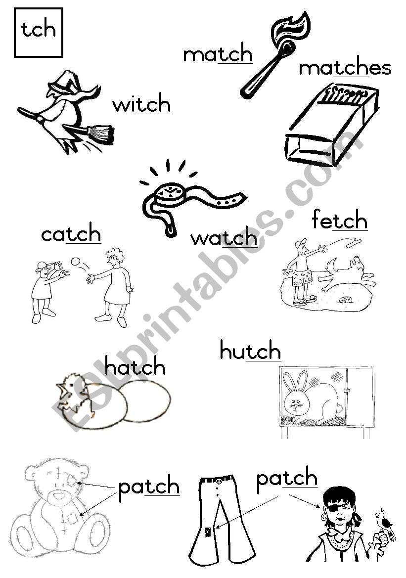 -tch Consonant diagraph worksheet