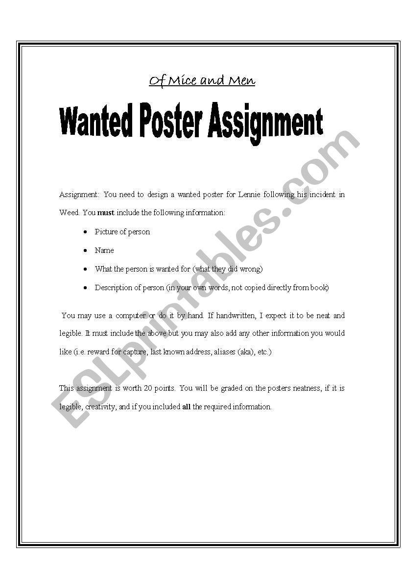 worksheet Of Mice And Men Worksheets english worksheets of mice and men wanted poster worksheet