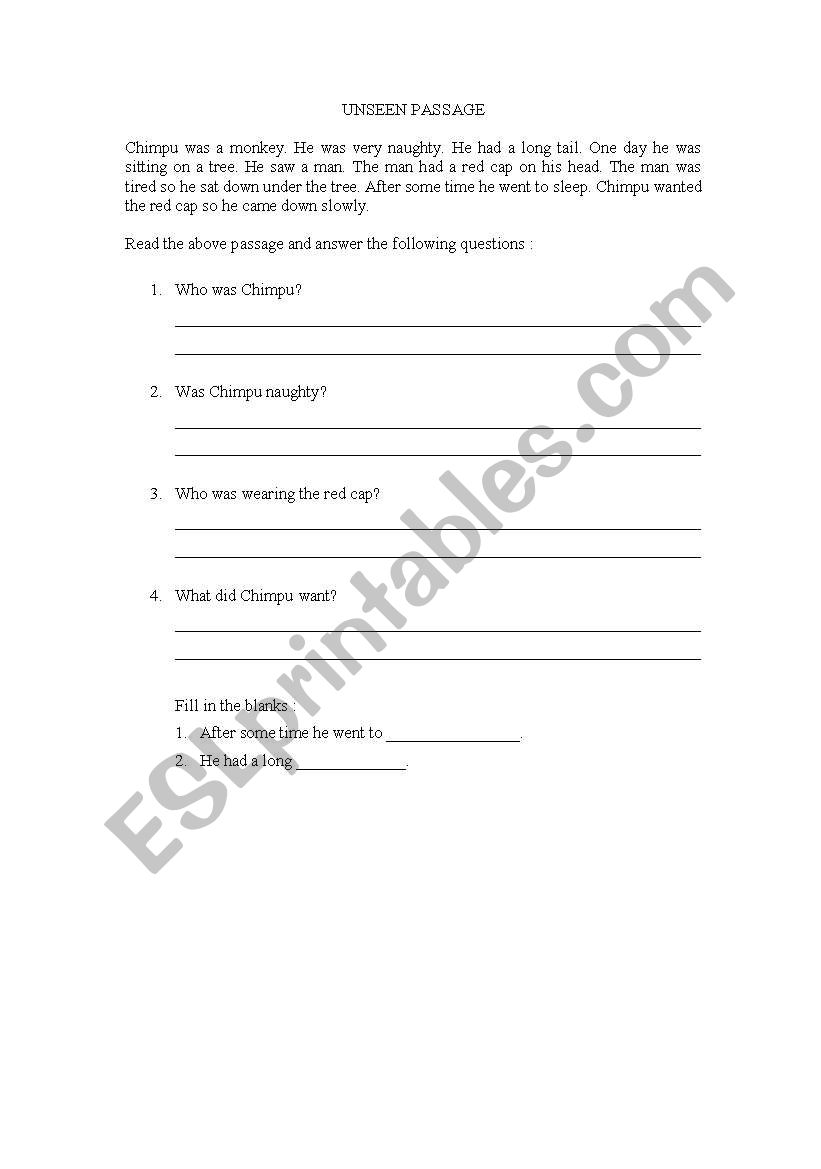 English worksheets: Unseen Passage
