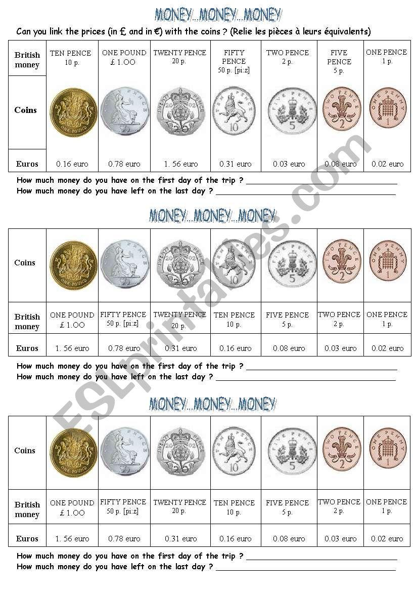 English money worksheet