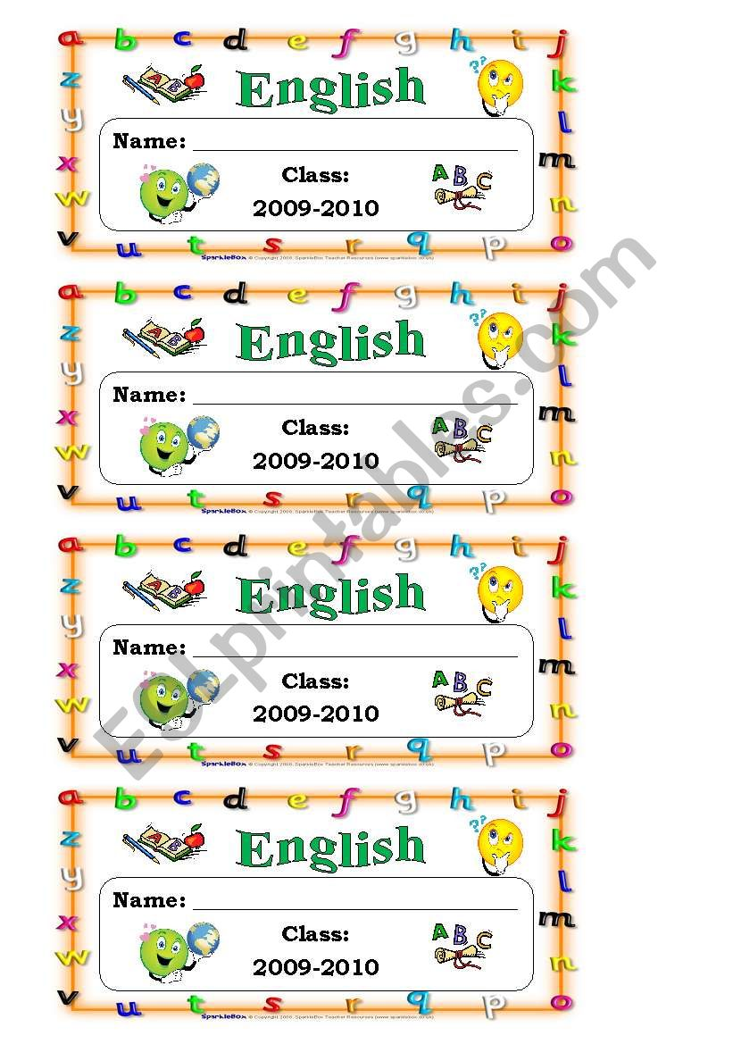 English exercise book labels worksheet