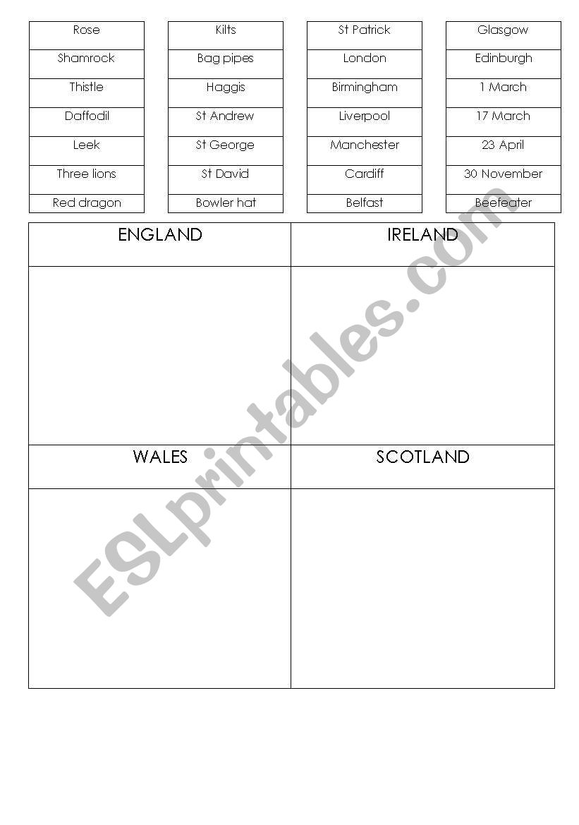 BRITISH CULTURE SYMBOLS worksheet